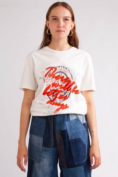T-shirt med print, REMAKE, stl S/M/L