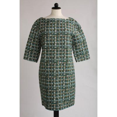 COS, mönstrad klänning, stl 40