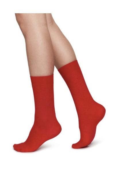 Emma Leopard sock - sharp red,  Swedish Stockings